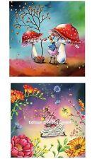 Nina Chen*Postkarte*Glitzereffekt*Herbst*Herzbaum&pilze*Laterne*14x14cm