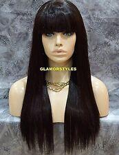 Long Straight With Bangs Dark Brown Human Hair Blend Wig Hair Piece #2 NWT