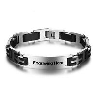 Personalised Bracelets Fashion Men Stainless Steel Engraving Chain Bracelets