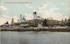 Postcard Burnt Island Light near Boothbay Harbor ME