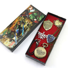 Game The Legend of Zelda Pocket Watches + Badge set of 4 pcs in Box Gift cosplay