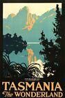 """Vintage Illustrated Travel Poster CANVAS PRINT Tasmania Wonderland 24""""X16"""""""