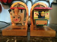 Antique Vintage Anri Italy Wood Train Bookends Engine Caboose Conductor Engineer