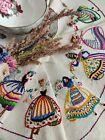 Vintage hand embroidered Irish linen tablecloth ~ World Folk Ring o dancers