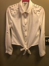 Small S Charlotte Russe White Blouse shirt Gold Studs spikes Tie bottom long slv
