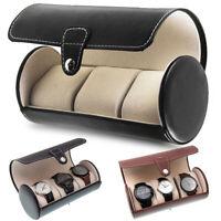 Travel Watch Storage Organizer Case for Leatherette Roll 3 Slot Round Watch Case