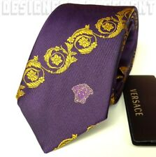 VERSACE deep Purple with gold Scroll MEDUSA head silk Twill MENS tie NIB Authent