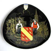 Assiette Murale  Emaux de Longwy Noir Alsace Strasbourg Fontaine Schwendi Colmar