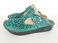 Alegria Womens Turquoise Classic Breezy Clog Mules Shoes Leather Size 38 ALG632