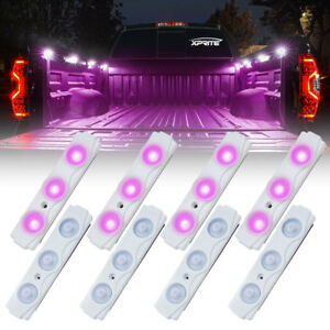 Xprite 8 LED Off Road Rock Light Pods Truck Bed Lighting Kit with Switch -Purple