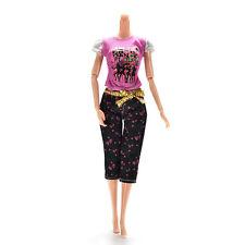 2 X / set Vestiti per bambole per Barbie Fashion Casual T-Shirt Capri PantsGH