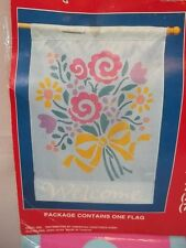 """New listing Decorative Flag American greetings Welcome Flowers Bouquet Garden 2'4"""" x 3'4"""""""