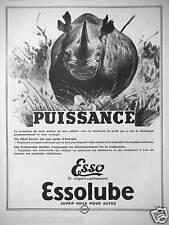 PUBLICITÉ 1936 PUISSANCE ESSO SUPER CARBURANT ESSOLUBE SUPER HUILE - RHINOCÉROS
