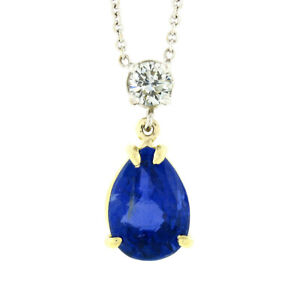 18k Gold 2.62ctw GIA Burma Sapphire & Diamond Pear Tear Drop Pendant Necklace