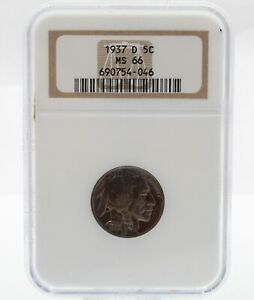1937 D US BUFFALO NICKEL FIVE CENT COIN NGC GRADED MS 66 NO RESERVE #CB71-4