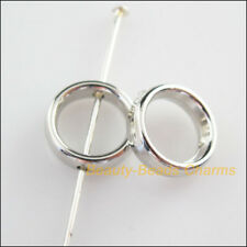 60Pcs Dull Silver Plated Acrylic Round Spacer Beads Frame Charms 12mm