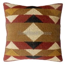 Handmade Kilim Car Decor & Sofa Pillow Throw Jute wool Cushion cover Handwoven C