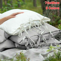 100% Natural Cotton Linen Pillowcase Slip Flax Lace Pillow Cover French Country