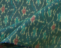 "Floral Silk Cotton Blend  Forest Green Ikat Hand Woven Soft Fabric 44"" Wide"