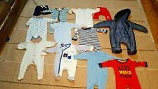 BUNDLE x12 Baby Boy Clothes 0-3 Pramsuit Snowsuit Baby Grows Trousers