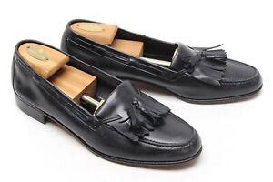 Salvatore Ferragamo Mens Kiltie Tassel Loafers 10 D Black Leather Dress Shoes
