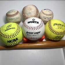 3 Softballs and 3 Baseballs, Lot of 6, Dudley, Worth, Macgregor, Rawlings