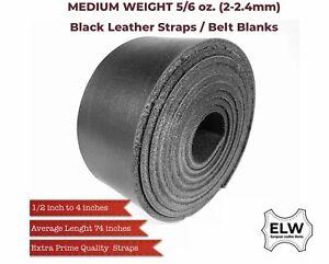"""Black 5/6 oz (2mm) Tooling Leather Belt/Strip/Straps 1/2""""-4"""" W, 68-72 L Cowhide"""