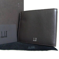 Authentic Dunhill Logo Bifold Wallet Dark Brown Leather Made France Good in Box
