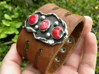 Ketoh sterling silver coral genuine Bison leather one of kind cuff sign bracelet