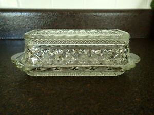 Vintage Anchor Hocking Wexford Pattern Pressed Glass Covered Butter Dish