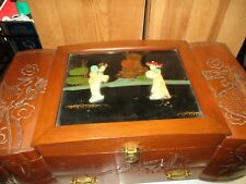 Vintage Asian Wood Musical Jewelry Box With Black Inlay
