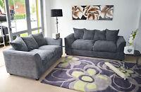 New Dylan Fabric Jumbo Cord Grey Sofa in Corners and 3+2+1+Swivel Chair Seaters
