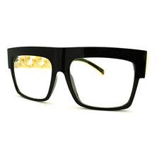 Solid Metal Chain Arm Oversized Horn Rim Glasses - Celebrity Black Gold
