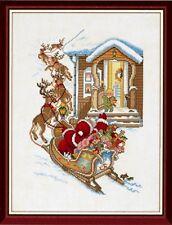 Navidad Santa Trineo Ride puntada cruzada contada Kit-Eva Rosenstand 14-029