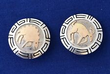 NATIVE AMERICAN NAVAJO ROBERT TAYLOR CLIP EARRINGS, STERLING SILVER W/ 14K GOLD