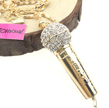 Chain jewelry Betsey Johnson pendant microphone women rhinestone charm necklaces