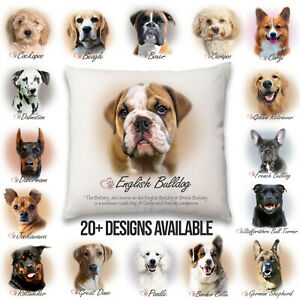 Dog Picture Cushion Multiple Breeds with words new design - Inner and Outer