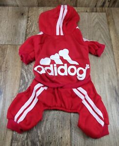 Adidog (Adidas) Dog/ Pet TRACK SUIT,RED- Size MEDIUM, Fits MED.Breeds-PAW WAG