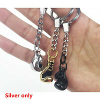 Silver Metal Mini Boxing Glove Model Keychain Key Chain Key Ring Sport Gift US