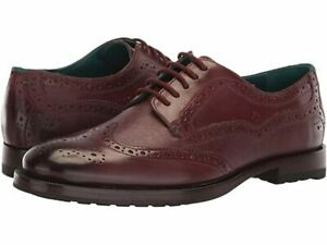 TED BAKER MENS SENAPE DERBY LEATHER LACE-UP SHOES DARK RED UK SIZE 10 RRP £150