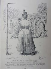 Hockey THE GOAL KEEPER AT OUR LADIES HOCKEY CLUB Antique Punch Cartoon