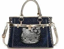 Hello Kitty Rhinestone Denim Blue Gold Trim Sequined Weave Shoulder Tote Handbag