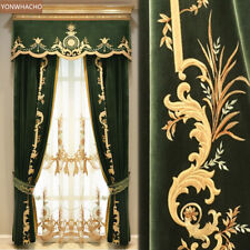 high-quality embroidered thick velvet green cloth curtain valance panel C026