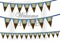 Welcome Home Picture Frame on the Wall Vintage Bunting Banner 15 flags 12ft