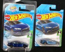 Hot Wheels 2019 Super Treasure Hunt Tesla Model S Blue Car New 19 HTF Month Card