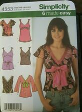 SIMPLICITY 4353 MISSES' SIZE 8-14 BIAS TUNIC or TOP SEWING PATTERN OOP