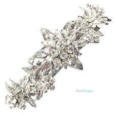 Bridal Wedding Vintage Style Crystal Flower Silver Barrette Hair Clip Grip CL13