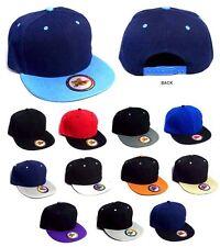 Snap Back Caps  Flat Brim  Baseball Caps   Assorted Colors  6 Pc Lot  ( E7509-6)