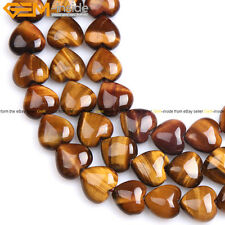 16mm Natural Heart Yellow Tiger's Eye Stone Beads For Jewelry Making 15''