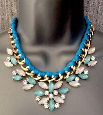 Blue Rope Gem Statement Necklace • Wedding Gift Party present BIRTHDAY EVENING